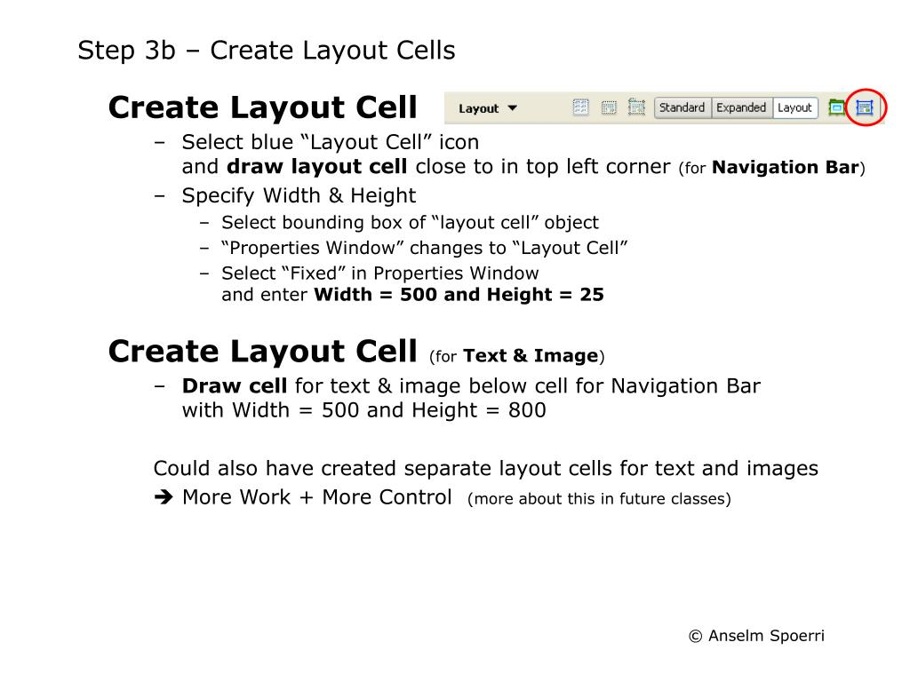 Step 3b – Create Layout Cells