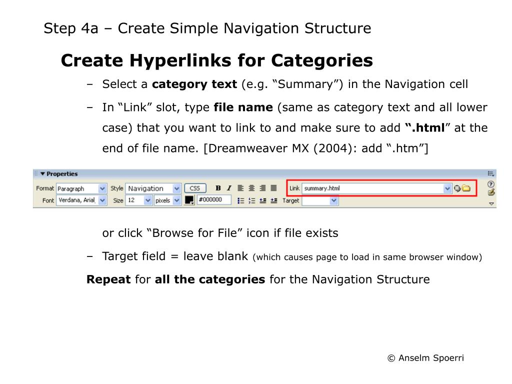 Step 4a – Create Simple Navigation Structure