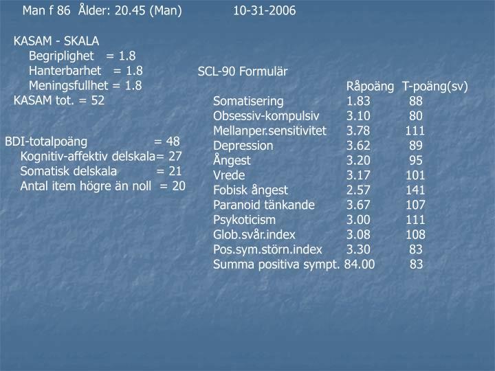 Man f 86  Ålder: 20.45 (Man)