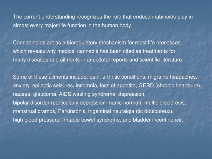 The current understanding recognizes the role that endocannabinoids play in