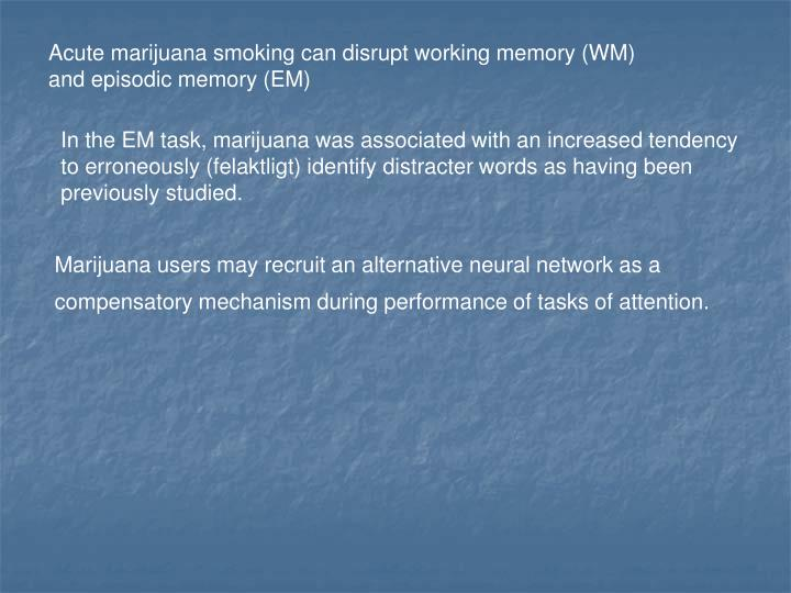 Acute marijuana smoking can disrupt working memory (WM)