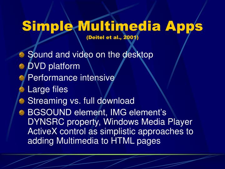 Simple multimedia apps deitel et al 2001