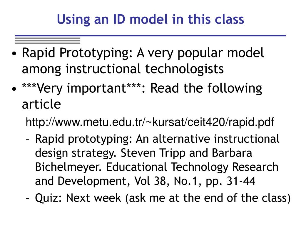 Using an ID model in this class