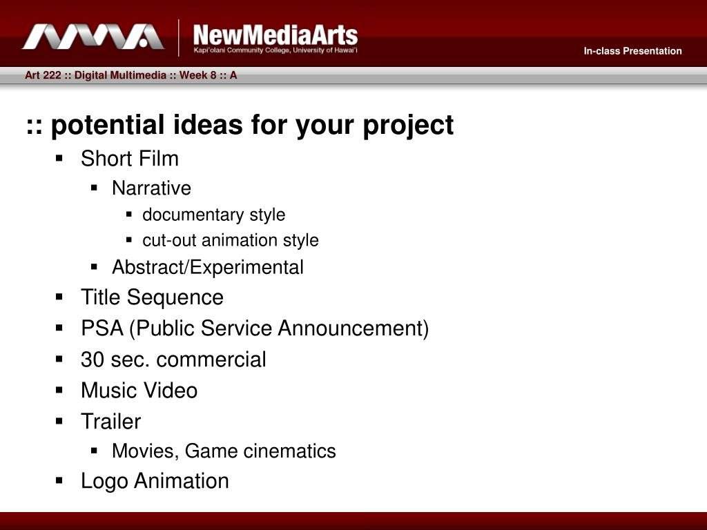 :: potential ideas for your project