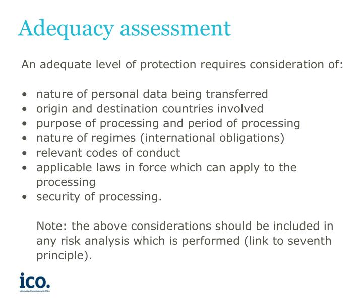 Adequacy assessment