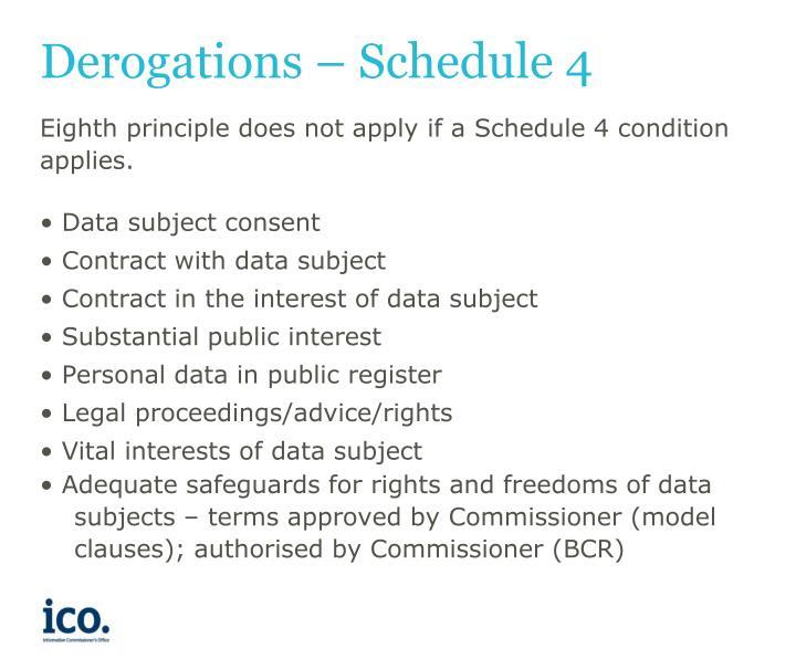 Derogations – Schedule 4