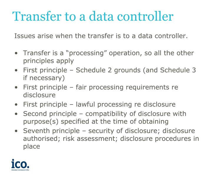 Transfer to a data controller