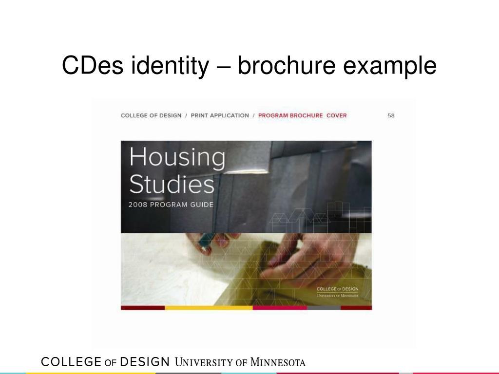 CDes identity – brochure example