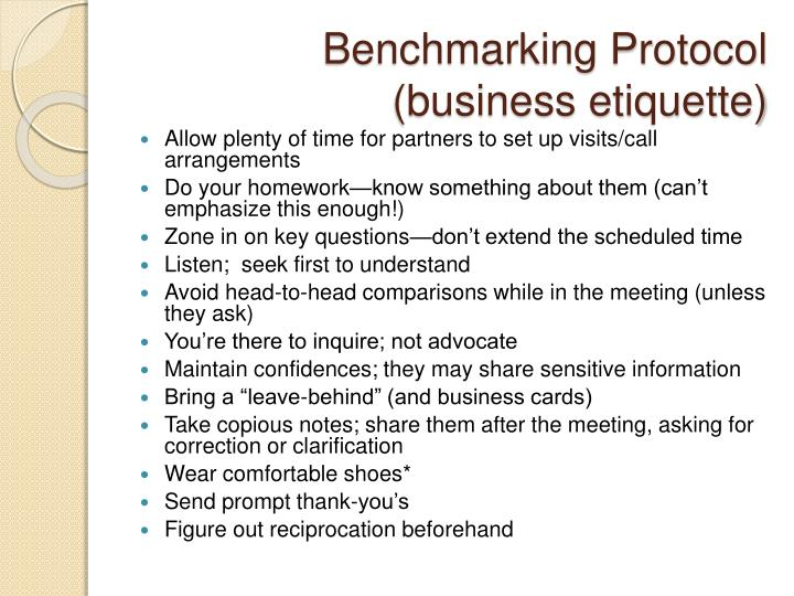 Benchmarking Protocol