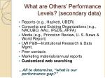 what are others performance levels secondary data
