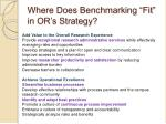 where does benchmarking fit in or s strategy