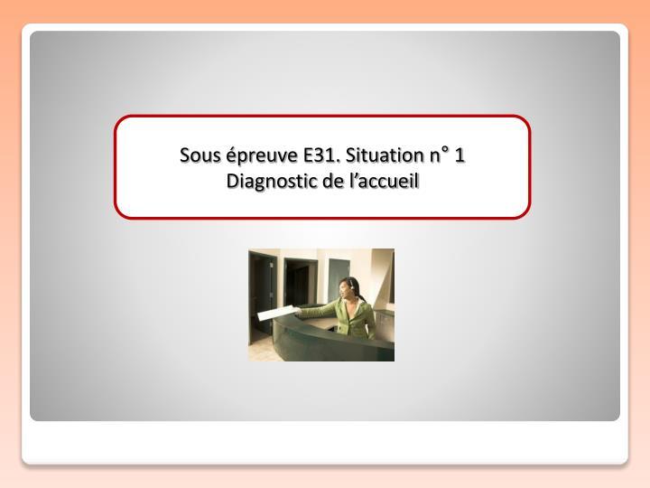 Sous épreuve E31. Situation n° 1
