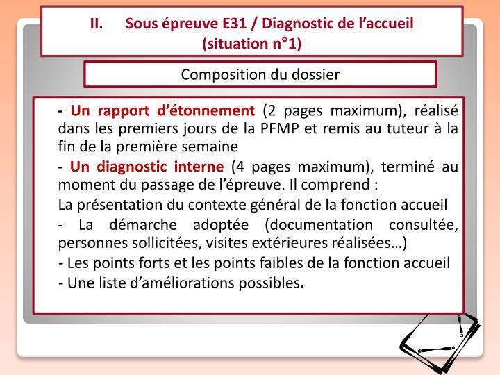 II.      Sous épreuve E31 / Diagnostic de l'accueil