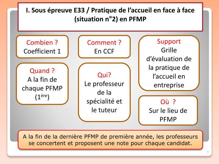 I. Sous épreuve E33 / Pratique de l'accueil en face à face (situation n°2) en PFMP