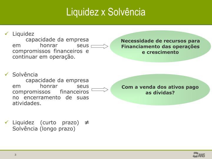 Liquidez x Solvência