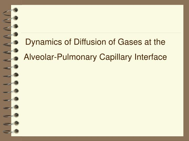 Dynamics of Diffusion of Gases at the