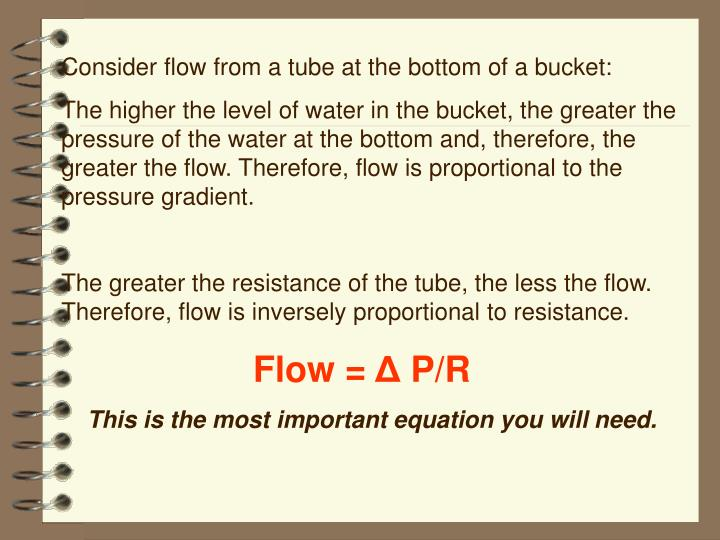 Consider flow from a tube at the bottom of a bucket: