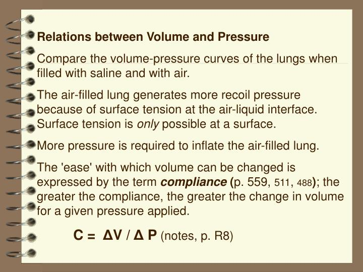 Relations between Volume and Pressure