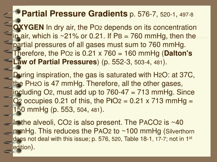 Partial Pressure Gradients
