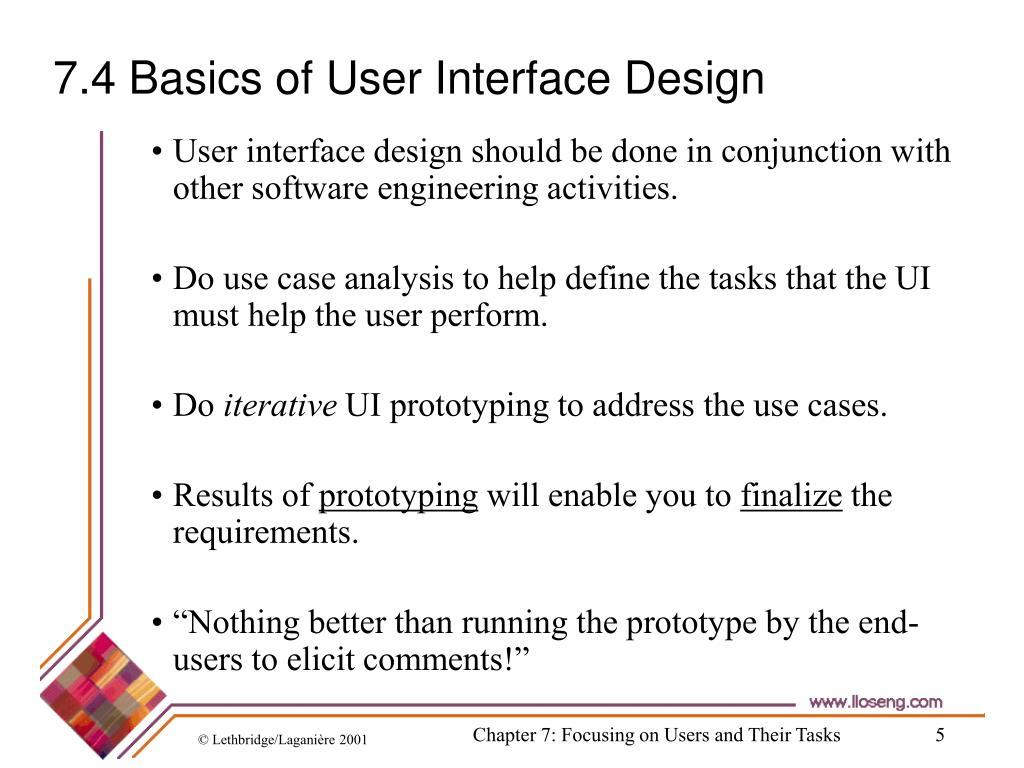 7.4 Basics of User Interface Design