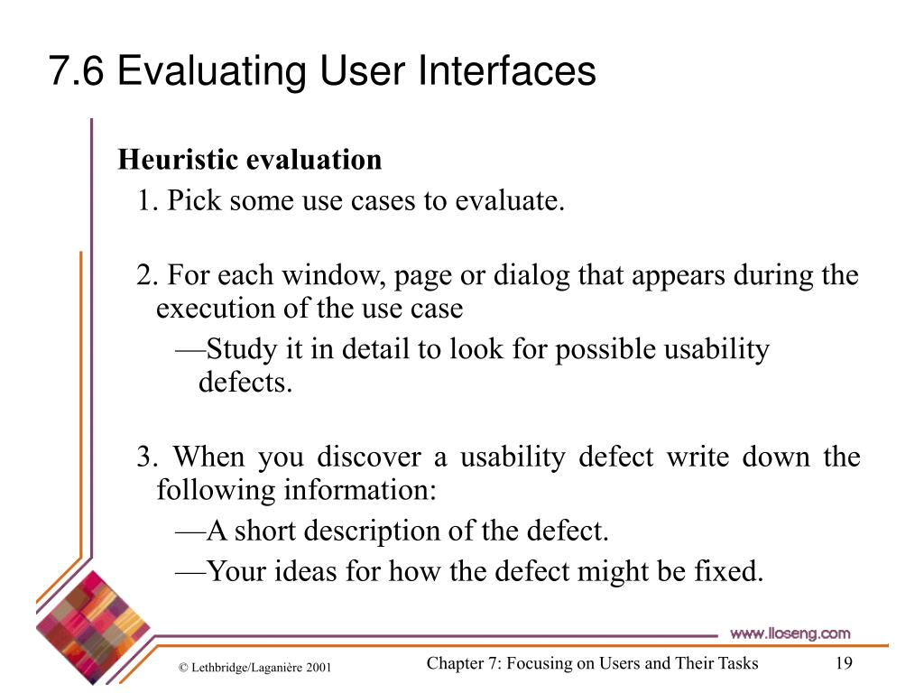 7.6 Evaluating User Interfaces