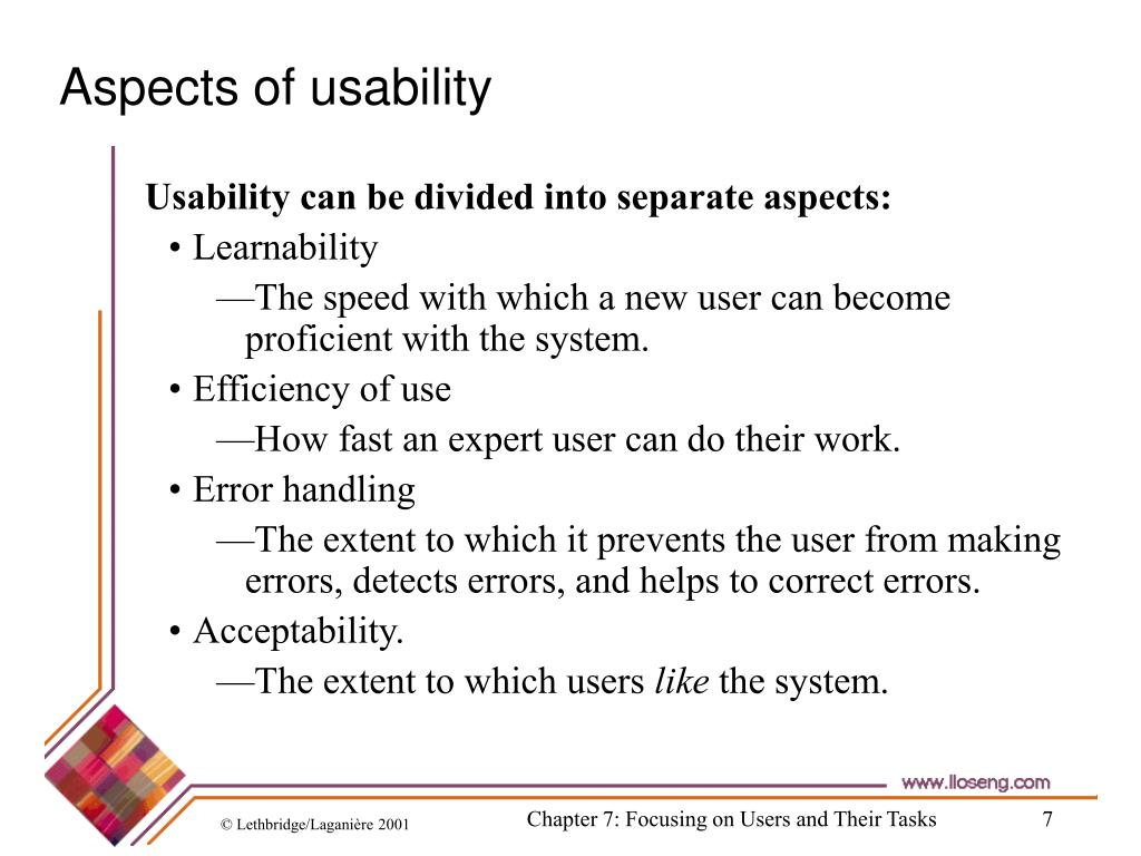 Aspects of usability