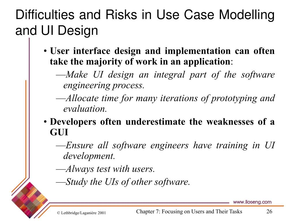 Difficulties and Risks in Use Case Modelling and UI Design