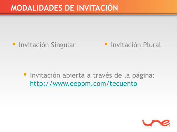 MODALIDADES DE INVITACIÓN