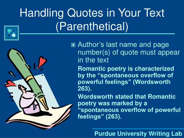 Handling Quotes in Your Text (Parenthetical)