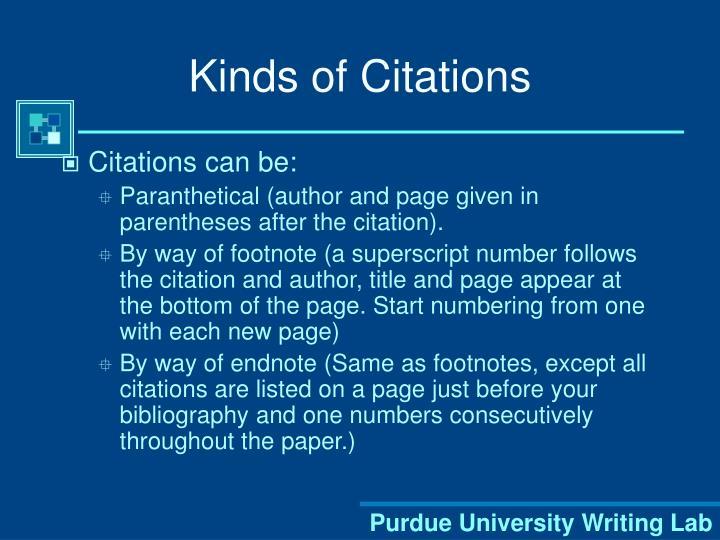 Kinds of Citations