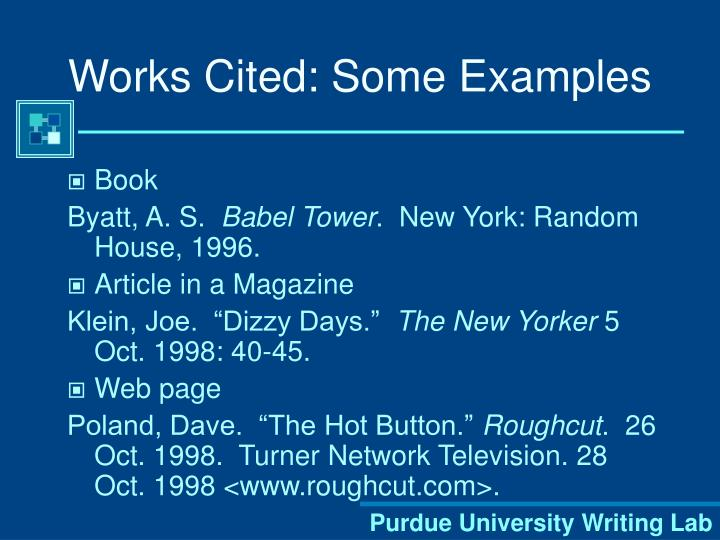 Works Cited: Some Examples