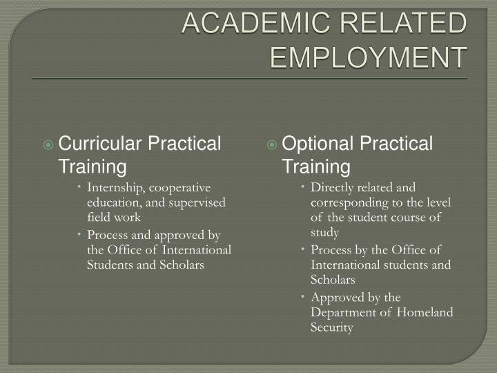 ACADEMIC RELATED EMPLOYMENT