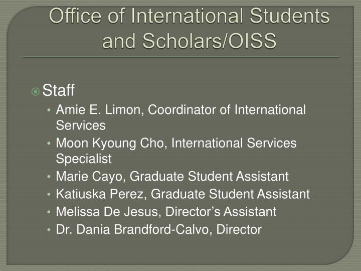 Office of international students and scholars oiss