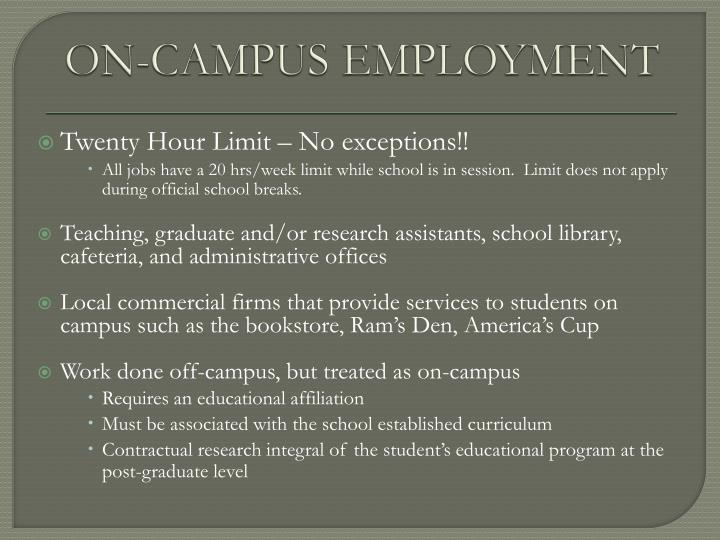 ON-CAMPUS EMPLOYMENT