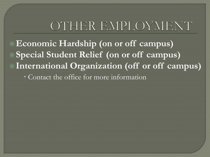 OTHER EMPLOYMENT