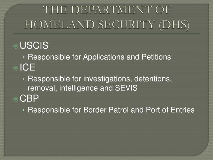 The department of homeland security dhs