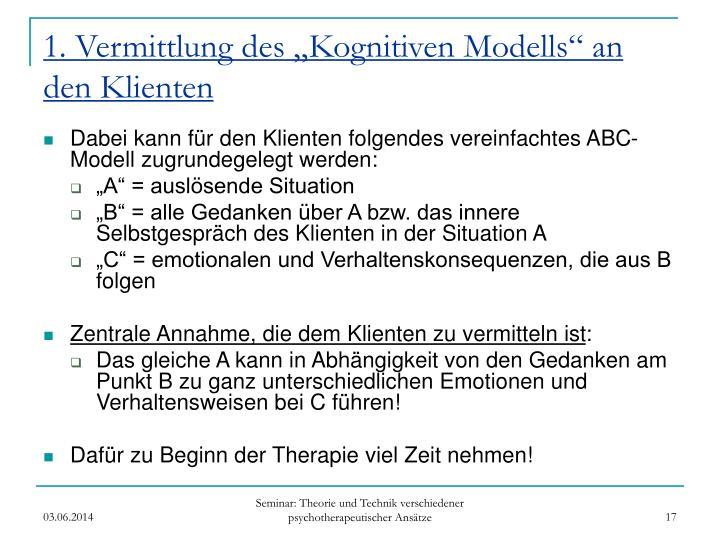 """1. Vermittlung des """"Kognitiven Modells"""" an den Klienten"""