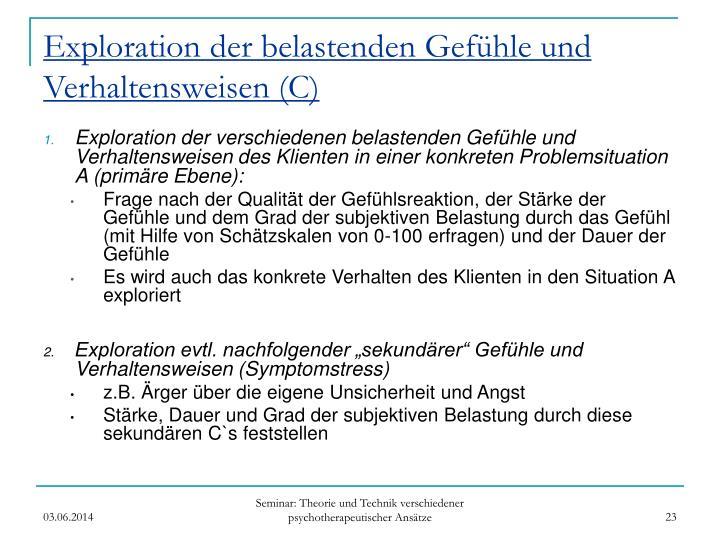 Exploration der belastenden Gefühle und Verhaltensweisen (C)