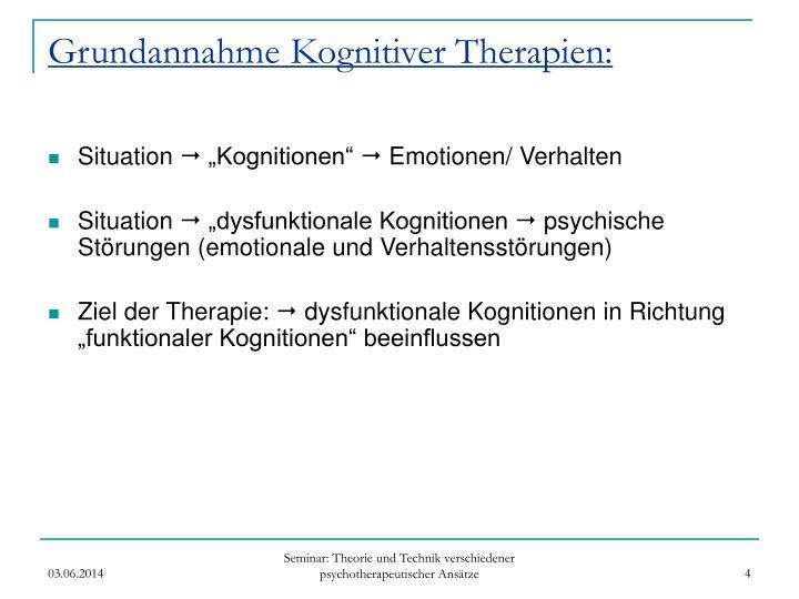 Grundannahme Kognitiver Therapien: