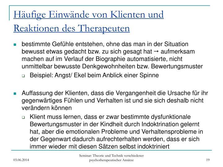 Häufige Einwände von Klienten und Reaktionen des Therapeuten