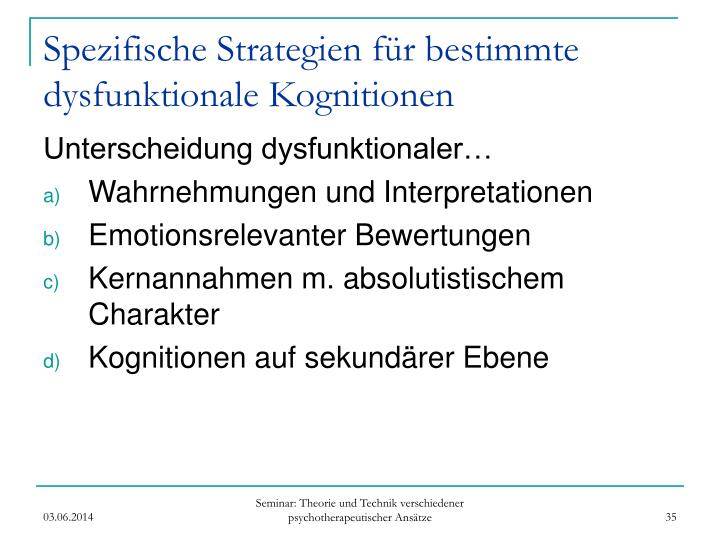Spezifische Strategien für bestimmte dysfunktionale Kognitionen
