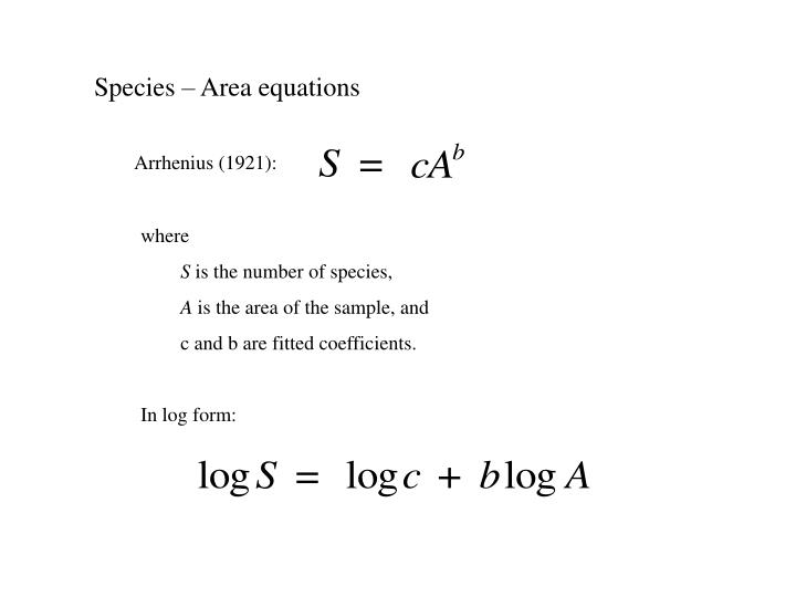 Species – Area equations