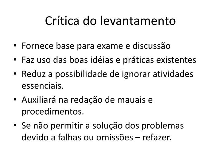 Crítica do levantamento