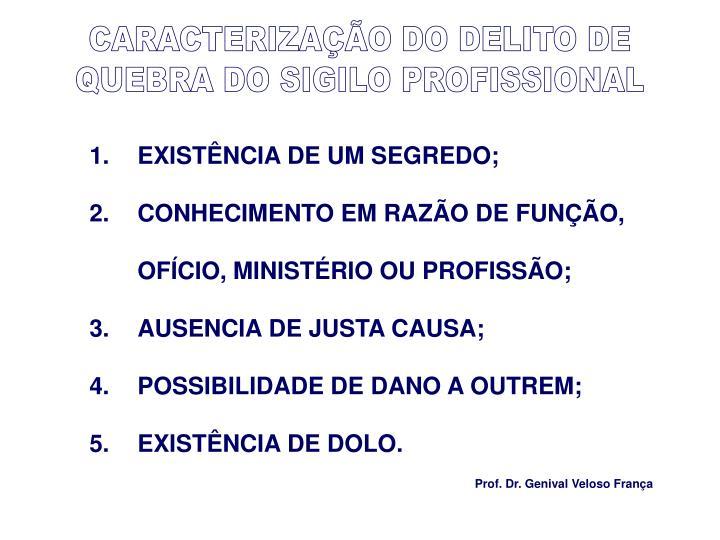 CARACTERIZAÇÃO DO DELITO DE