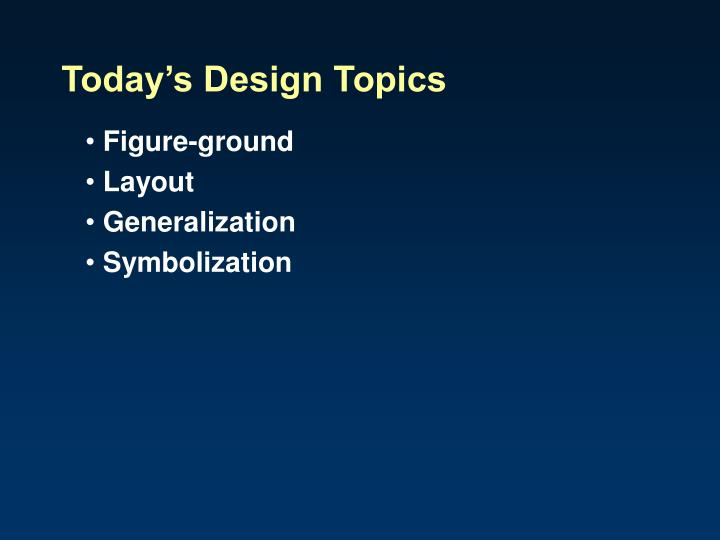 Today s design topics