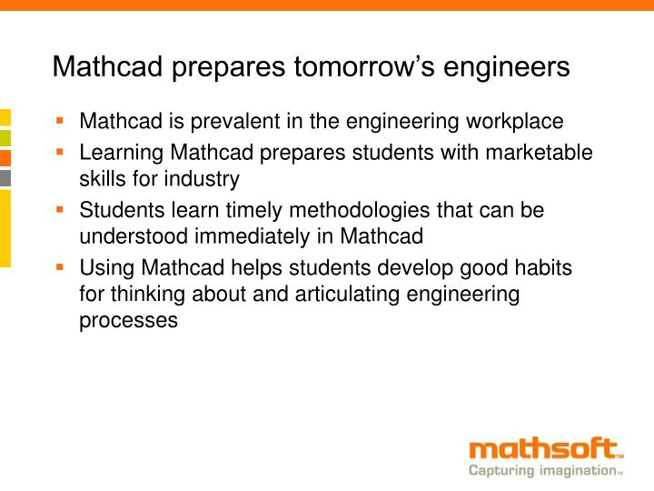 Mathcad prepares tomorrow's engineers