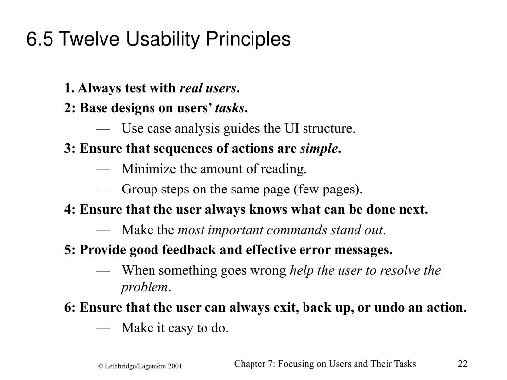 6.5 Twelve Usability Principles