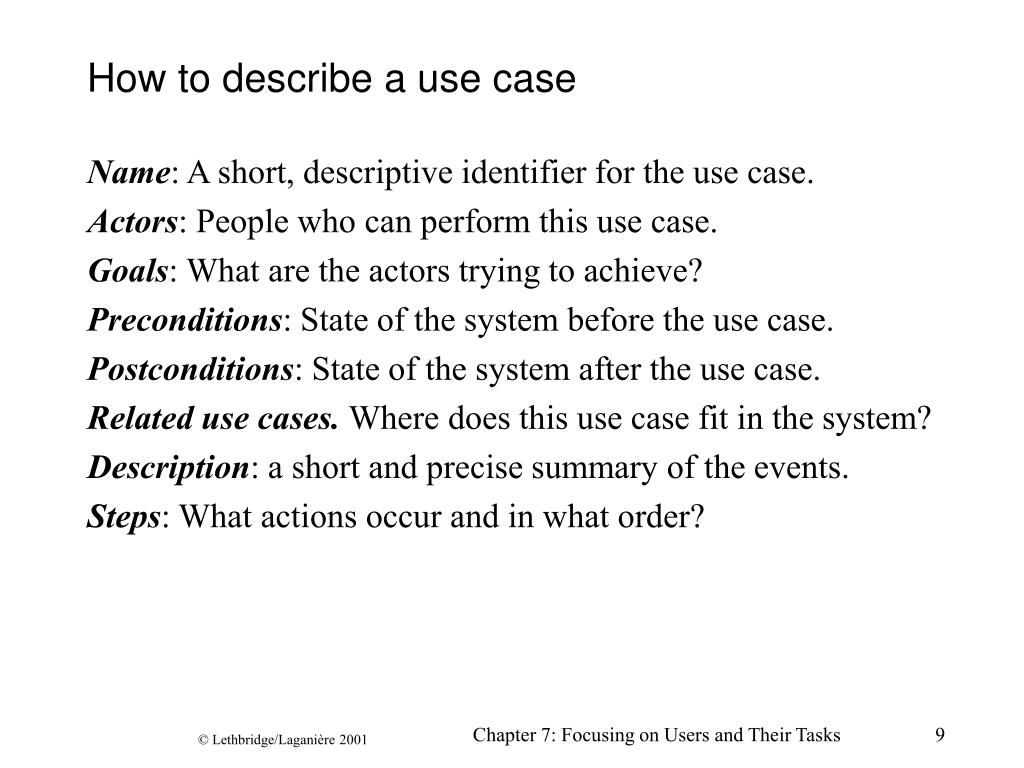 How to describe a use case