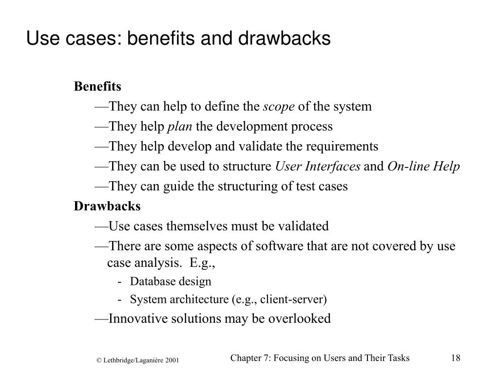 Use cases: benefits and drawbacks