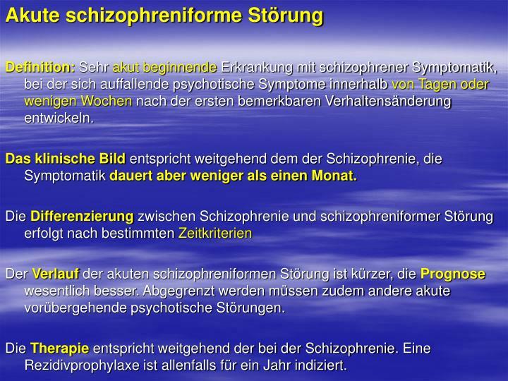 Akute schizophreniforme Störung